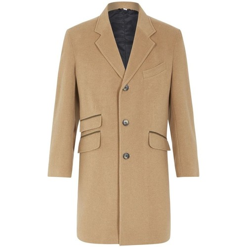 Clothing Men Coats De La Creme Classic- Mens CAMEL Wool Cashmere Winter Slim Fit Luxury Coat BEIGE