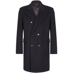 Clothing Trench coats De La Creme Classic- Mens Black Wool Cashmere Winter Slim Fit Luxury Coat Black