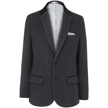 Clothing Men Smart Jackets De La Creme Classic- Mens Grey Wool Cashmere Winter Slim Fit Luxury Jacket Grey