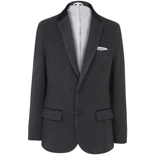 Clothing Men Smart Jackets De La Creme Classic- Mens Grey Wool Cashmere Winter Slim Fit Luxury Jacket Grey