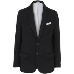Clothing Men Jackets / Blazers De La Creme Classic- Mens Black Wool Cashmere Winter Slim Fit Luxury Jacket Black