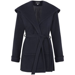 Clothing Women Parkas De La Creme - Navy Womens Winter Wool Cashmere Wrap Hooded Coat Blue