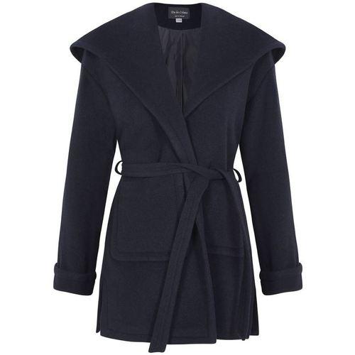 Clothing Women Parkas De La Creme Winter Wool Cashmere Wrap Hooded Coat Blue