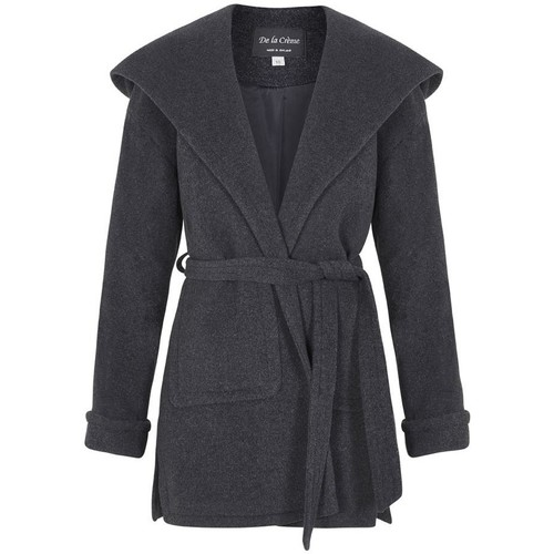 Clothing Women Parkas De La Creme Winter Wool Cashmere Wrap Hooded Coat Grey