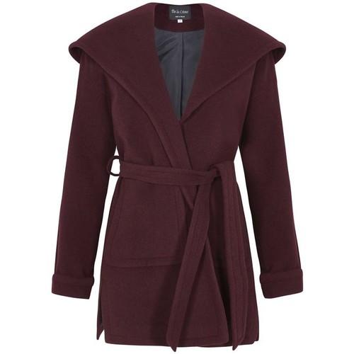 Clothing Women Parkas De La Creme Winter Wool Cashmere Wrap Hooded Coat Red
