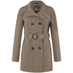 Clothing Women Trench coats De La Creme Wool Belted Winter Coat Brown