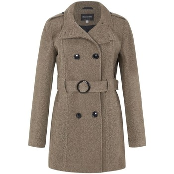 Clothing Women Trench coats De La Creme - Dark Beige Women`s Wool Belted Winter Coat Brown