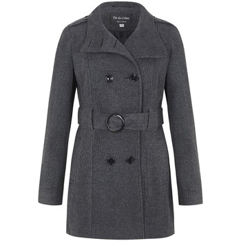 Clothing Women Trench coats De La Creme Wool Belted Winter Coat Grey