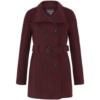 Clothing Women Trench coats De La Creme - Burgandy Women`s Wool Belted Winter Coat Red