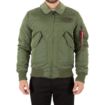 Clothing Men Jackets Alpha Industries Men's Collar Bomber Jacket, Green green