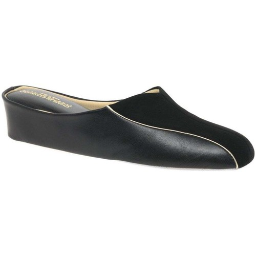 Shoes Women Slippers Relax Slippers Martha Leather and Suede Slipper black