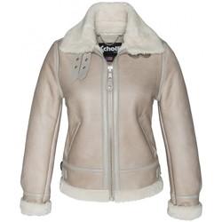 Clothing Women Leather jackets / Imitation leather Schott BOMBARDIER FEMME    LCW 1257 LIGHT BEIGE Beige