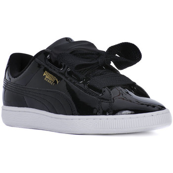 Shoes Women Low top trainers Puma BASKET HEART SAFARI Nero