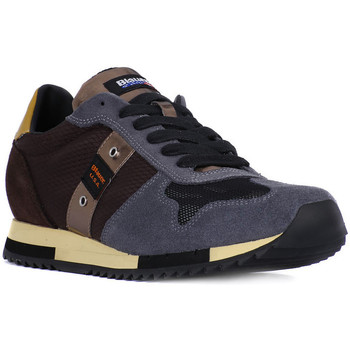 Shoes Men Low top trainers Blauer QUINCY DARK BROWN Marrone