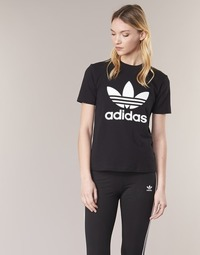 Clothing Women short-sleeved t-shirts adidas Originals TREFOIL TEE Black
