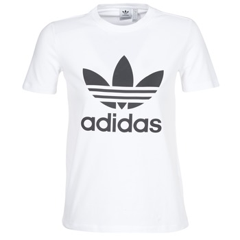 33f2fb7149df9 Clothing Women short-sleeved t-shirts adidas Originals TREFOIL TEE White