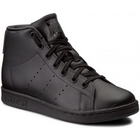 Shoes Children Hi top trainers adidas Originals Stan Smith Mid J Cblackcblackcblack Black