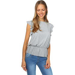 Clothing Women Tops / Blouses Krisp Ruffle Sleeve Shirred Jersey Top Grey