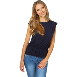 Clothing Women Tops / Blouses Krisp Ruffle Sleeve Shirred Jersey Top {Navy} Blue