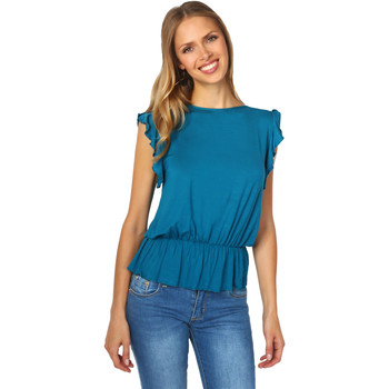Clothing Women Tops / Blouses Krisp Ruffle Sleeve Shirred Jersey Top {Teal} Blue