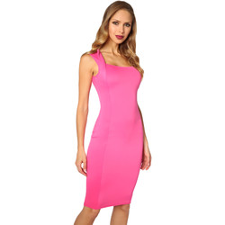 Clothing Women Short Dresses Krisp Square Neck Bodycon Midi Dress {Cerise} Orange