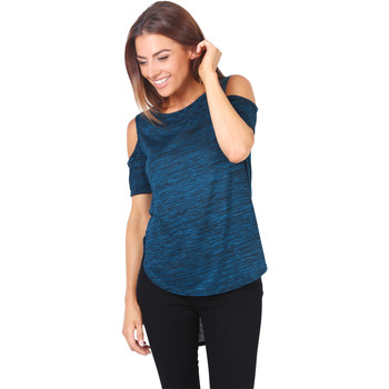 Clothing Women Tops / Blouses Krisp Cut-Out Sleeve Space Dye Top {Teal} Green