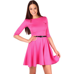 Clothing Women Short Dresses Krisp Belted Skater 3/4 Sleeve Dress {Cerise} Pink