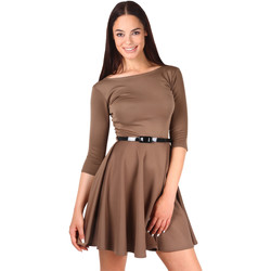 Clothing Women Short Dresses Krisp Belted Skater 3/4 Sleeve Dress {Mocha} Brown
