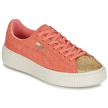 Shoes Girl Low top trainers Puma SUEDE PLATFORM GLAM JR Gold / Pink