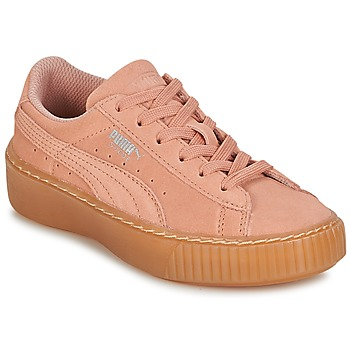 Shoes Girl Low top trainers Puma SUEDE PLATFORM JEWEL PS Pink