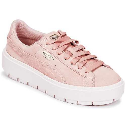 Shoes Women Low top trainers Puma SUEDE PLATFORM TRACE W'S Beige