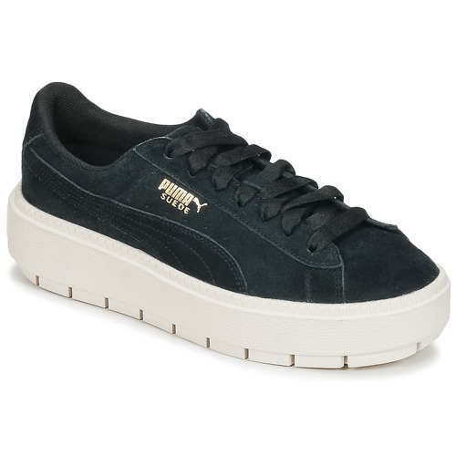 Shoes Women Low top trainers Puma SUEDE PLATFORM TRACE W S Black   White 67e1f8fbd