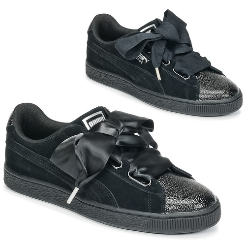 Puma SUEDE HEART BUBBLE W S Black - Free delivery with Spartoo UK ... 9a1b214208