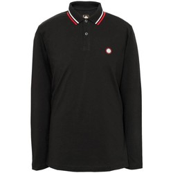 Clothing long-sleeved polo shirts Pretty Green Long Sleeve Tipped Pique Polo Black