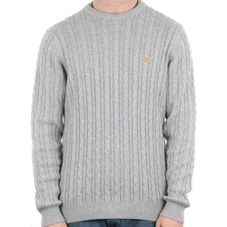 Clothing jumpers Farah Mens Lewes Crew Neck Cable Sweater Grey