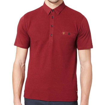 Clothing short-sleeved polo shirts Farah Lester Short Sleeve Polo Shirt Burgundy