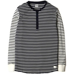 Clothing Women sweaters Edwin Jeans Edwin Thomas Henley Long Sleeve T shirt Navy Off-white Off White