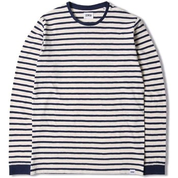 Clothing Women Long sleeved tee-shirts Edwin Jeans Edwin Tokyo Blues Long Sleeve T-shirt-Off White / Navy Navy