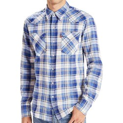 Clothing Women long-sleeved shirts Levi's Barstow Western checked shirt Blue