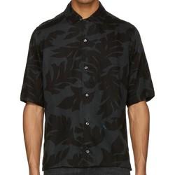 Clothing Women short-sleeved shirts Diesel S-WESTY Leaf Print Short Sleeve Shirt Black