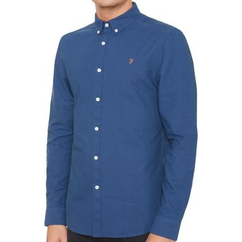 Clothing Women long-sleeved shirts Farah Men's Brewer Slim Fit Oxford Shirt Blue