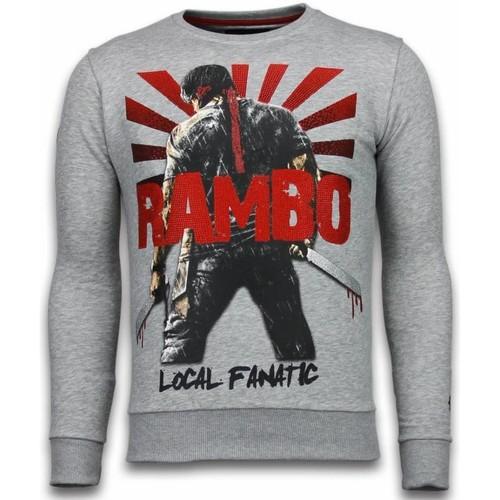 Clothing Men Sweaters Local Fanatic Rambo  Rhinestone   Light Grey Grey