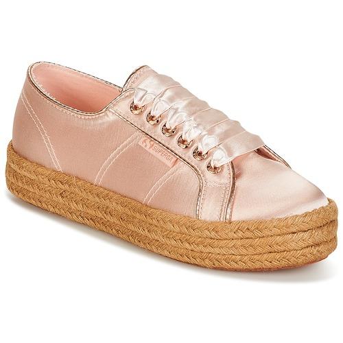 Shoes Women Low top trainers Superga 2730 SATIN COTMETROPE W Pink