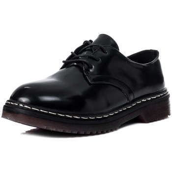 Shoes Women High boots Spylovebuy COOGEE Lace Up Flat Shoes - Black High Shine Black