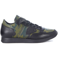 Shoes Men Low top trainers Philippe Model Paris Tropez black leather and camouflage sneaker Green