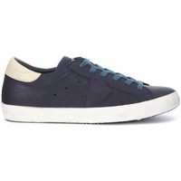Shoes Men Low top trainers Philippe Model Paris Paris blue and ivory leather sneaker Blue