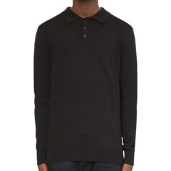 Clothing Men long-sleeved polo shirts The Idle Man Long Sleeve Knitted Polo Shirt Black
