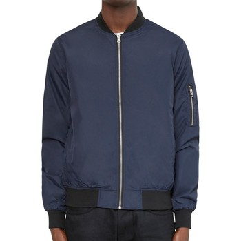 Clothing Men Jackets The Idle Man Lightweight Poly Bomber Jacket Navy