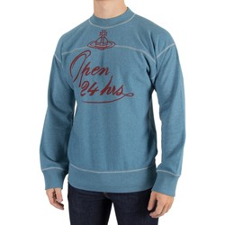 Clothing Men jumpers Vivienne Westwood Men's Square 24 Hours Sweatshirt, Blue blue