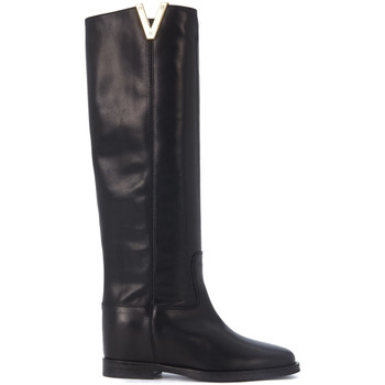 Shoes Women High boots Via Roma 15 Stivale  in pelle liscia nera Black